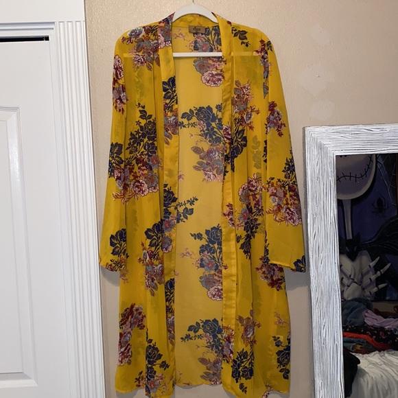 Jorja Yellow Floral kimono covering